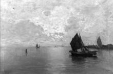 Pietro Fragiacomo, Laguna con barche