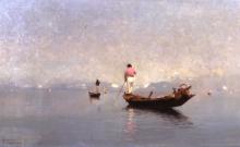 Pietro Fragiacomo, Paesaggio lagunare con barche