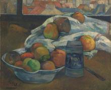 Gauguin, Ciotola di frutta e boccale davanti a una finestra | Bol de fruits et chope devant une fenêtre | Bowl of fruit and tankard before a window