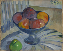 Gauguin, Coppa di frutta su una sedia da giardino | Coupe de fruits sur une chaise de jardin | Fruit dish on a garden chair | Becher Obst auf einem Gartenstuhl