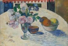 Gauguin, Fiori e una ciotola di frutta su una tavola   Fleurs et un bol de fruits sur une table