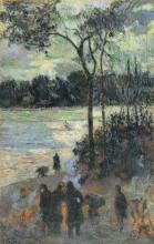 Gauguin, Fuoco sulla riva di un fiume | Feu sur la rive d'une rivière | The fire at the river bank | Hoguera junto a una ría