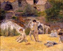Gauguin, Il bagno al mulino del Bois d'Amour   La baignade au moulin du Bois d'Amour   Bathing boys at the watermill in the Bois d'Amour