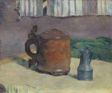 Gauguin, Natura morta boccale di legno e brocca di metallo | Nature morte: chope en bois et pichet en métal | Still life: wood tankard and metal pitcher