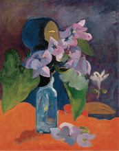 Gauguin, Natura morta con fiori e idolo | Nature morte aux fleurs et à l'idole | Still life with flowers and idol