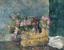 Gauguin, Natura morta con rose muscose in un cestino | Nature morte avec des roses moussues dans un panier | Still life with moss roses in a basket