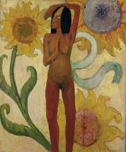 Gauguin, Nudo femminile con girasoli (Donna caraibica) | Nu féminin aux tournesols (Femme caraïbe) | Female nude with sunflowers (Caribbean woman)
