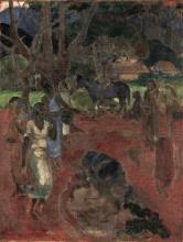 Paul Gauguin, Paesaggio tahitiano con nove figure | Landskab fra Tahiti med ni figurer