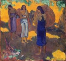 Gauguin, Tre tahitiane contro uno sfondo giallo | Trois femmes de Tahiti sur un fond jaune | Three Tahitian women against a yellow background