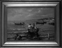 Lorenzo Gignous, Marina con pescatori e barche