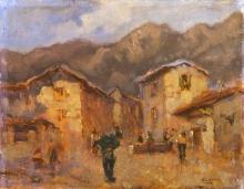 Lorenzo Gignous, Paesaggio con case e montagne