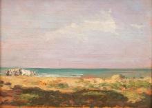 Gioli Francesco, Contadino con buoi sulla spiaggia della Maremma.jpg