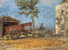 Gioli Francesco, Cortile colonico con carro rosso.jpg