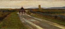 Gioli Francesco, Maremma toscana con carro e cavalli.jpg