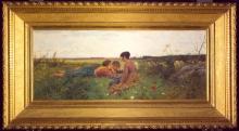 Gioli Francesco, Tre fanciulle e pecore su un prato fiorito [cornice].jpg