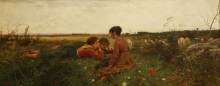 Gioli Francesco, Tre fanciulle e pecore su un prato fiorito.jpg