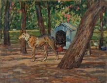 Gioli Luigi, Giardino con cane.png