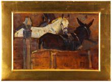 Gioli Luigi, Interno di stalla con asino e cavallo