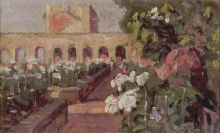 Gioli Luigi, Scorcio di villa con giardino.png