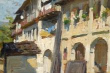 Gioli Luigi, Veduta di una strada di villaggio [dettaglio 1].jpg