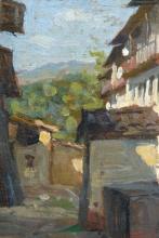 Gioli Luigi, Veduta di una strada di villaggio [dettaglio 2].jpg