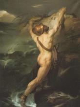 Francesco Hayez, Acace d'Oileo naufrago s'aggrappa ad uno scoglio imprecando gli Dei