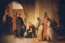 Francesco Hayez, Alberico da Romano, fratello di Ezzelino, si dà prigioniero con la sua famiglia ...