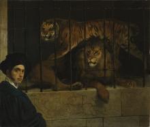 Francesco Hayez, Autoritratto con tigre e leone