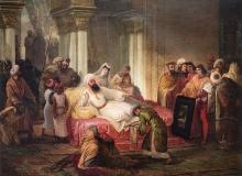 Francesco Hayez, Gentile Bellini, accompagnato dal veneziano Bailo, dona a Maometto II un dipinto di san Giovanni decollato