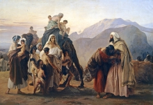 Francesco Hayez, Giacobbe, incontratosi con Esaù, e inchinandosi a lui sette volte, gli mostra il gregge ed i cammelli che gli aveva mandato