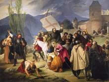 Francesco Hayez, Pietro l'Eremita che cavalcando una bianca mula col Crocifisso in mano, e scorrendo le città e le borgate predica la crociata