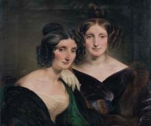 Francesco Hayez, Ritratto delle signore Carolina Grassi e Bianca Bignami, sorelle Gabrini [dettaglio]