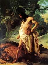 Francesco Hayez, Sansone, atterrato un giovane leone, medita di farlo in brani, provando così il dono della sua prodigiosa forza