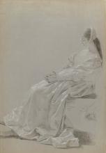Francesco Hayez, Studio di figura femminile sedente di profilo in costume rinascimentale e di un dettaglio di mani che trattengono una lettera