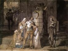 Francesco Hayez, Studio per il dipinto 'Il Conte di Carmagnola, mentre sta per essere condotto al supplizio, raccomanda la sua famiglia all'amico Gonzaga, ultima scena della tragedia di Alessandro Manzoni'