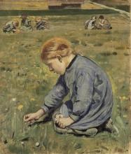 Hodler, Bambina che raccoglie fiori   Blumenpflückendes Mädchen