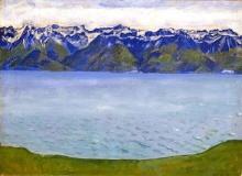 Hodler, Il lago di Ginevra con le montagne della Savoia | Genfersee mit Savoyerbergen