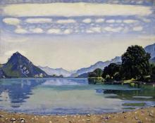 Hodler, Il lago di Thun da Leissigen   Thunersee von Leissigen aus