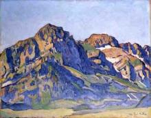 Hodler, Paesaggio montano vicino a Champéry   Berglandschaft bei Champéry