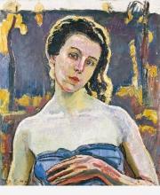 Hodler, Ritratto di Gertrud Müller in giardino, mezzo busto | Bildnis Gertrud Müller im Garten, Bruststück