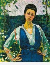 Hodler, Ritratto di Gertrude Müller in giardino, mezza figura | Bildnis Gertrud Müller im Garten, Hüftbild