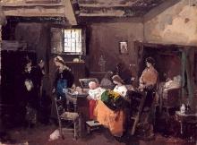 Domenico Induno, Scena di vita milanese in un interno