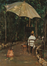Silvestro Lega, Il pittore Tommasi che dipinge in giardino