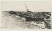 Lhermitte, Barche sulla spiaggia | Bateaux sur la plage | Boats on the beach