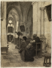 Lhermitte, Donne che pregano in chiesa | Femmes priant à l'église | Women praying in church