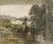 Lhermitte, Due bagnanti sul bordo di uno stagno | Deux baigneuses au bord d'un étang | Two bathers at the edge of a pond