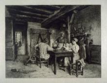 Lhermitte, Famiglia contadina in un interno | Famille paysanne dans un intérieur | Peasant family in an interior
