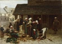 Lhermitte, Il mercato di Ploudalmézeau, Bretagna | Le marché de Ploudalmézeau, Bretagne | The market place of Ploudalmézeau, Brittany