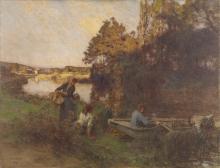 Lhermitte, Scena fluviale con cinque figure e una barca | Scène de rivière avec cinq figures et un bateau | River scene with five figures and a boat