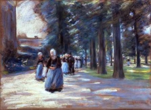 Max Liebermann, Andando in chiesa a Laren | Kirchgang zu Laren | Going to church in Laren